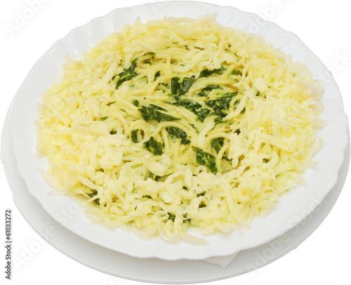 Deurstickers Klaar gerecht Italian spaghetti with fresh herbs, yellow cheese and vegatables