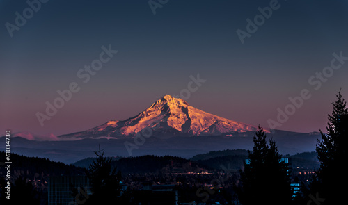 Poster Ochtendgloren Mount Hood at Sunset