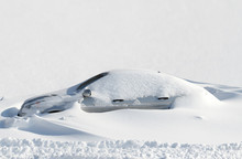 Car Under Snow. Background Of Fresh Snow