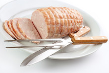 Oven Roasted Turkey Breast Roll With Serving Fork