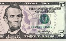 Five Dollars Bill Fragment New...