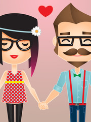 Fototapeta Romantyczny Vector illustration of a Hipster couple holding hands