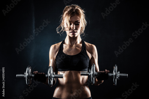Fotografie, Obraz  Fitness with dumbbells