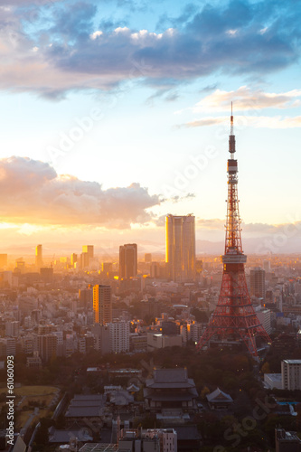 Foto auf AluDibond Tokio Tokyo Tower Sunset