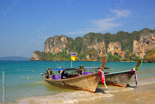 Fototapety, obrazy: Traditional Thai boat on Railay beach, Krabi, Thailand