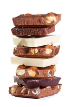 Stack Of Various Pieces Of Chocolate