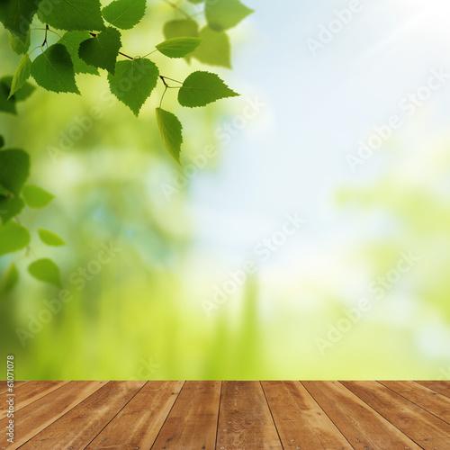 Fototapeta Wooden desk against beauty natural backgrounds for your design obraz na płótnie