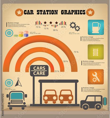 Car station graphics design,vintage,vector