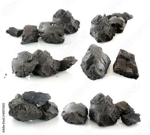 Stampa su Tela coal isolated on white background
