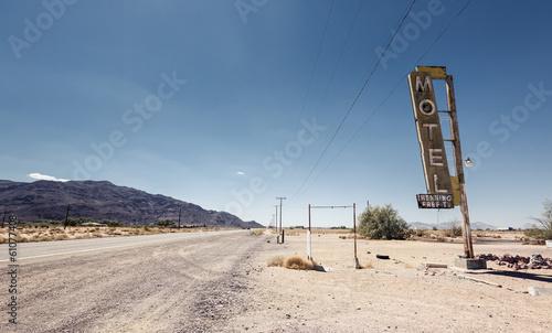 Fotografering  Hotel sign ruin along historic Route 66