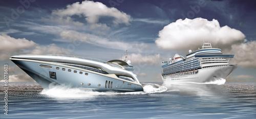 Fotografie, Obraz  Yacht und Kreuzfahrtschiff auf dem Ozean