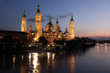 View of the basilica of the Virgen del Pilar and Ebro river, Zar