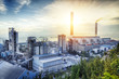 canvas print picture - Glow light of petrochemical industry on sunset.