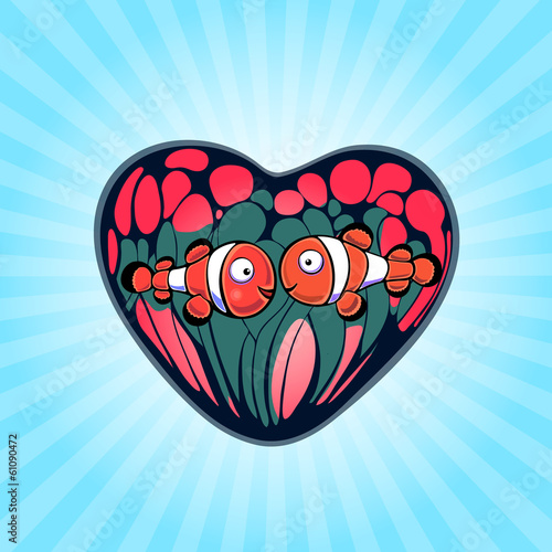 Fotografie, Tablou  Two Cute Clown Fish on a Background of Anemones stylized heart