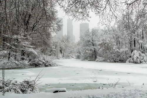 Photographie New York Central Park in snow the pond