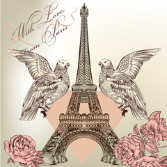 FototapetaBeautiful Valentine card with detailed vector Eiffel tower, rose