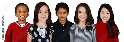Photo  Children Together On White Background