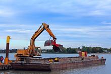 Barge Dredging Harbor