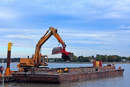 Vászonkép  Barge Dredging Harbor