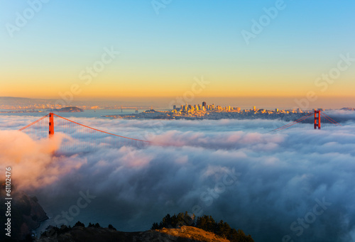 Poster San Francisco Foggy day in San Francisco California at sunset