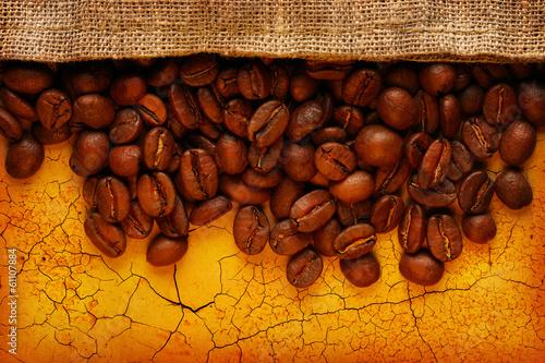 Poster Café en grains Coffee beans with sack