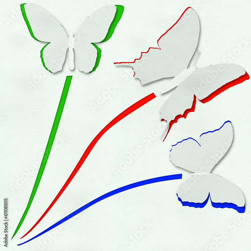 Foto op Aluminium Vlinders in Grunge three butterfly