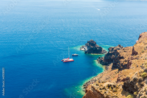Poster Turquoise View of Fira town - Santorini island,Crete,Greece.