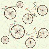 Bezszwowy tło z karnawałowym rowerem, serpentyna - 61111627
