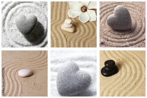 Tuinposter Stenen in het Zand Collage of zen garden with sand and stones