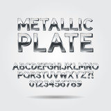Metallic Font and Numbers, Eps 10 Vector, Editable for any backg