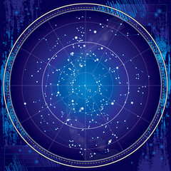 FototapetaCelestial Map of The Night Sky. Astronomical Chart of Northern Hemisphere (Ultraviolet Blueprint version EPS-8)