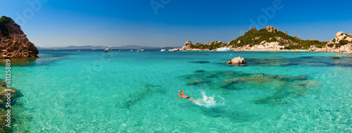 Clear turquoise water of Cala Corsara bay in Sardinia Canvas Print