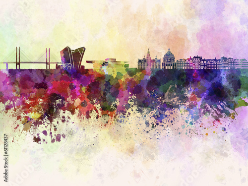 Copenhagen skyline in watercolor background Canvas