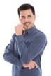 canvas print picture Lachender und nachdenklicher Business Mann in blau freigestellt