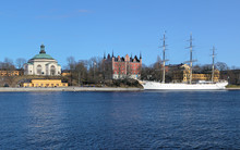 Skeppsholm Church, Admiralty House And Ship In Stockholm