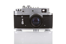 Old Manual Camera On White Bac...
