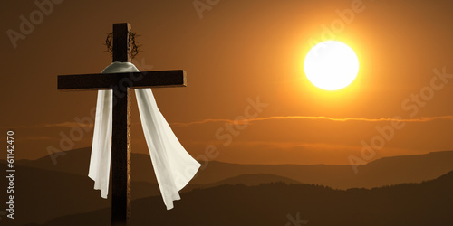 Dramatic Lighting Of Mountain Sunrise With Easter Cross Wallpaper Mural