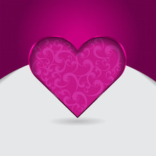 Vector Purple Valentine Background With Floral Cut Heart