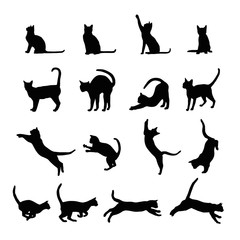 Fototapeta Cats silhouette collection, vector