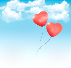 Fototapeta na wymiar Valentine heart-shaped baloons in a blue sky with clouds. Vector