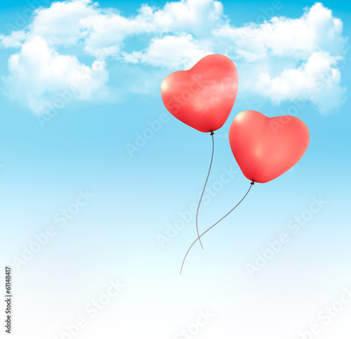 Fototapeta Valentine heart-shaped baloons in a blue sky with clouds. Vector