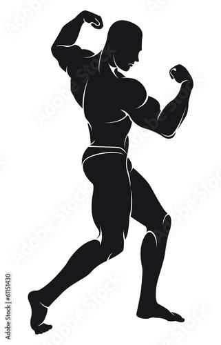 Fotografie, Obraz  vector image with bodybuilder, silhouette