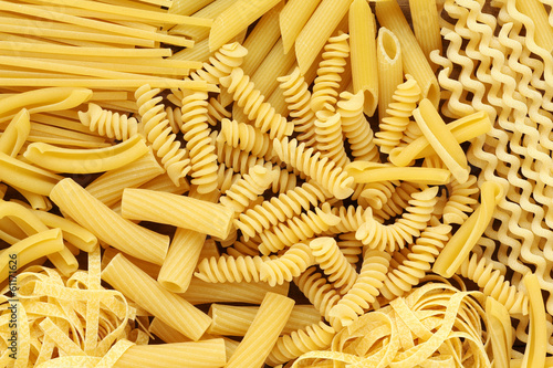Slika na platnu Variety of types and shapes of Italian pasta