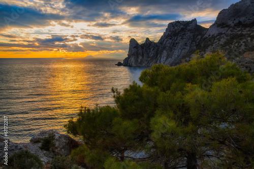 Fotobehang Zwart sea sunset