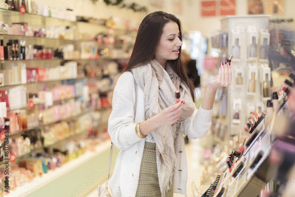 Fototapety, obrazy: Young woman in perfumery