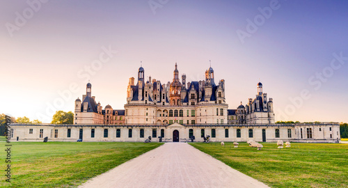 Wall Murals Castle The royal Chateau de Chambord in the evening, France