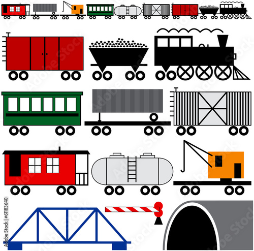 Fotografie, Obraz  Train Engine and Cars