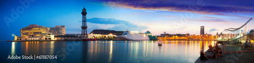 Photo  panorama of Port Vell in sunset. Barcelona