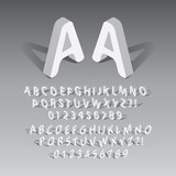 Isometric Rounded Font and Numbers, Eps 10 Vector