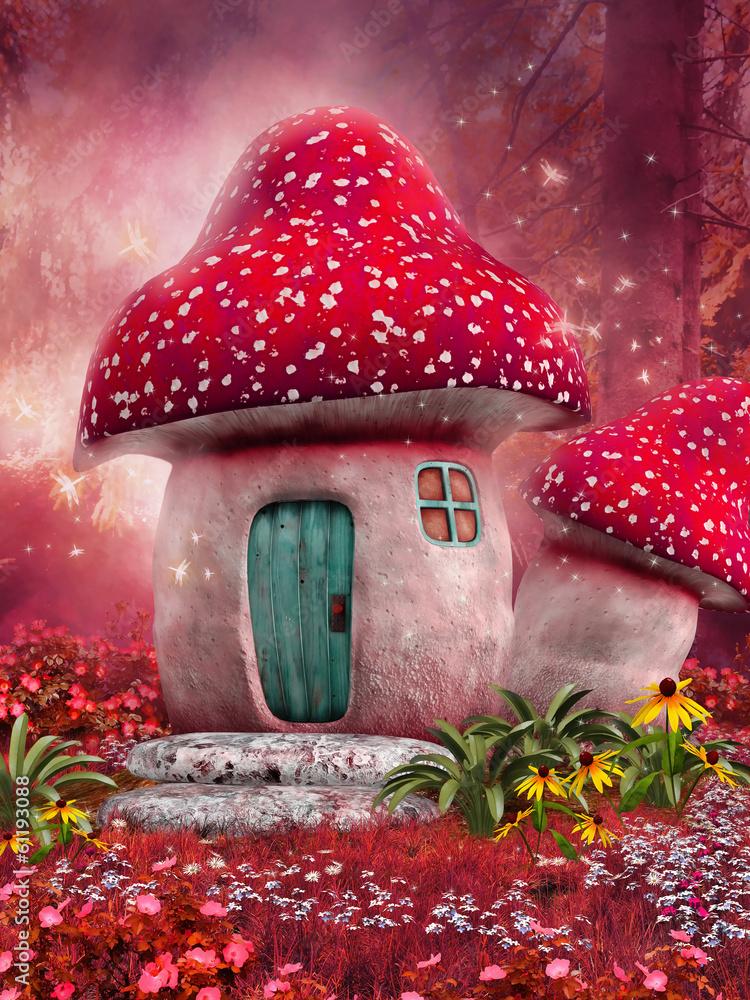 Fototapety, obrazy: Zaczarowany różowy domek z grzyba